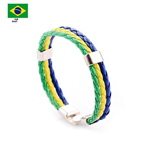 Respctful Fashion Unisex World Cup Bracelets Multi Wrap Hemp Surfer Braid Men&Women Gift (MulticolorC) -