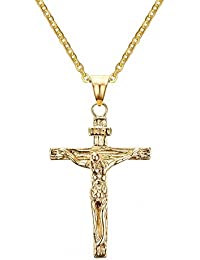Stainless Steel Antique Cross Crucifix Pendant Necklace 19 Inch