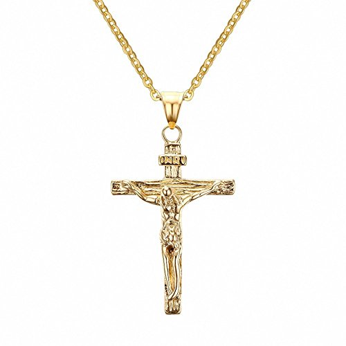 Jwoolw Stainless Steel Antique Cross Crucifix Pendant Necklace 19 Inch (Vintage 14k Gold Charm)