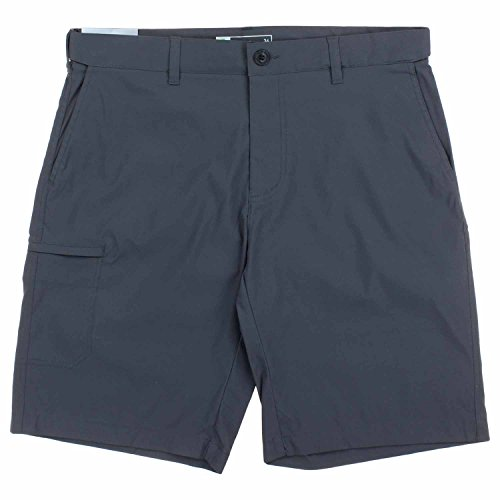 Unionbay Flat Front Shorts (UB Tech Mens Comfort Waist Classic Fit Short With Expandable Waist (34, Charcoal))