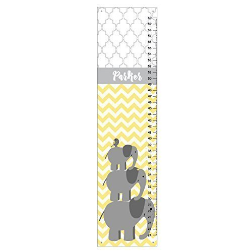 Kid'O Design Studio Elephants Growth chart, Personalized Kids room decor, Canvas growth chart, Chevron Yellow and Gray, Measures babies to adults – 24-60 inches - a memento for life. by Kid'O Design Studio