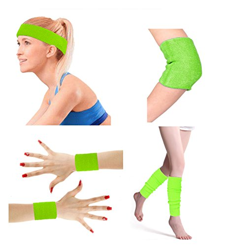 Price comparison product image 80's Retro Running Jogging Sports Headband Wristbands Leg Warmers Elbow Guard Set For Women Girls,  Neon Green