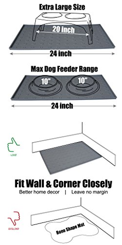 WooPet! Pet Food Mat 24''x16'' Tan Extra Large, Premium Silicone Food Safe Cat or Dog Feeding Mat by WooPet! (Image #4)