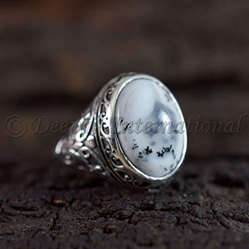 statement silver ring big semi precious stone ring Big Dendritic Opal Silver Ring