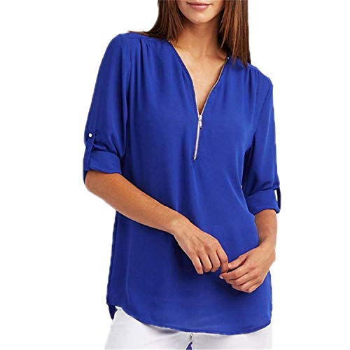 TOGIC Elegant Women Blouses Zipper Deep V Neck Chiffon Blouse Tops Office LadiesBlusas 3XL Deep Blue XXXL