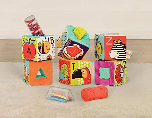 B. Toys - ABC Block Party Baby Blocks - Soft Fabric Building Blocks for Toddlers - Educational Alphabet Blocks with 6 Textured Toy Blocks & 5 Shapes - Grab & Stack Blocks - Bpa Free