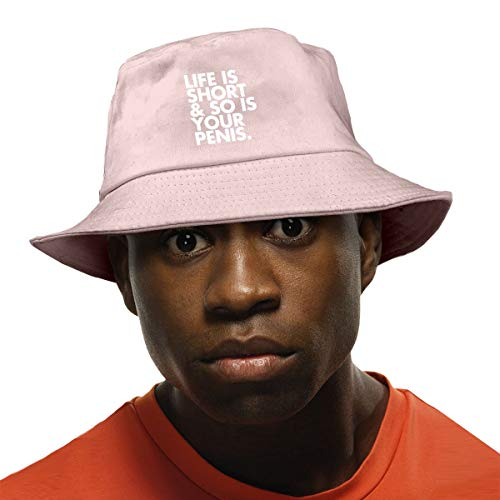 Eye Of The Angel Life is Short So is Your Penis Unisex Cotton Bucket Hat Travel Bucket Hat Fishing Cap Pink