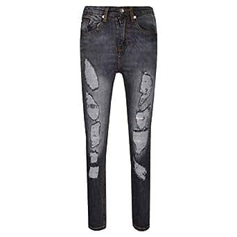 Amazon.com: Boys Stretchy Jeans Kids Ripped Black Denim ...