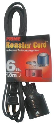 Prime HC102506 6-Feet Detachable Jumbo Plug Appliance Power Supply Cord, Black