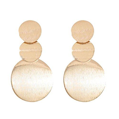 (Women 1Pair Trendy Long Earrings Geometric Multilayered Metal Round Hoop Earrings)
