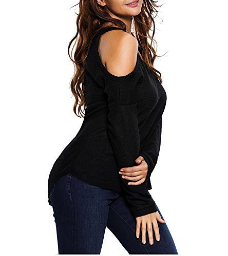 Suéter Elegante Mangas Largas Pullover Tops Jersey Suéter para Mujer Negro