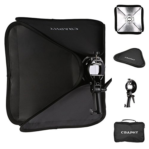 CRAPHY 16″x16″ / 40x40cm Professional Foldable Flash Photography Studio Portrait Softbox + S-shaped Speedlite Flash Bracket Mount + Outer Diffuser + Carrying Case 41RSVw 2B0zLL