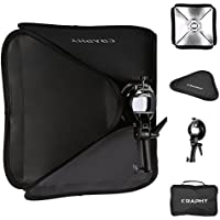 CRAPHY 16x16 / 40x40cm Professional Foldable Flash Photography Studio Portrait Softbox + S-shaped Speedlite Flash Bracket Mount + Outer Diffuser + Carrying Case