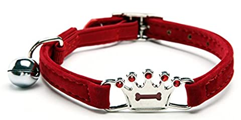 Red Designer Crown Cat Collar with Safety Belt and Bell 8-11 Inches - Black Diamond Cones
