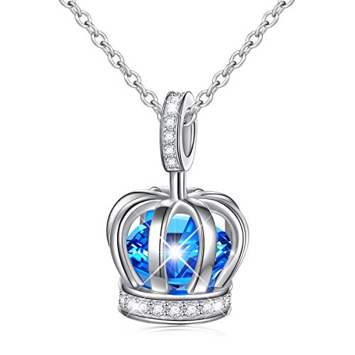 daochong S925 Sterling Silver Crown Queen Pendant Necklace for Women Little Teen Girl Jewelry