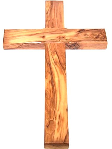Olive wood Cross from Bethlehem with a Certificate and Lord prayer card - 10 Inches (Olive Wood Wall Cross)