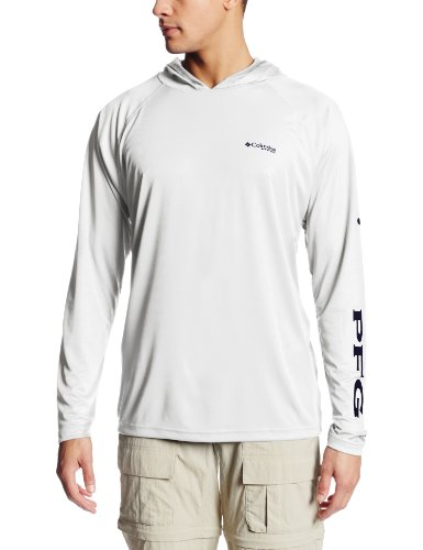 Columbia Men's Terminal Tackle Sun Hoodie, Moisture Wicking, White, Nightshade Logo, Medium