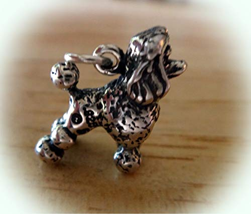 3D Solid Sterling Silver Lg 4 Gram Standard Poodle Dog with Pom Poms Charm Vintage Crafting Pendant Jewelry Making Supplies - DIY for Necklace Bracelet Accessories by CharmingSS