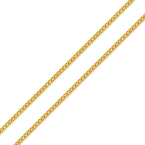 - Double Accent 14K Yellow Gold Chain 1.5mm Light curb Chain Necklace (16, 18, 20, 22, 24 Inches), 22