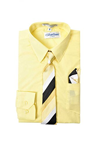 Boy's Premium Dress Shirt with Matching Necktie and Pocket Square Set (12, (Limon Square)
