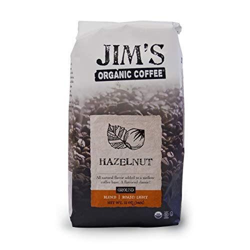 Coffee Drip Flavored Oz 12 - Jim's Organic Coffee Hazelnut Drip Ground Coffee, Flavored, 12 Ounce
