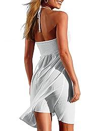 Adreamly - Traje de baño para mujer con espalda descubierta y encaje de ganchillo