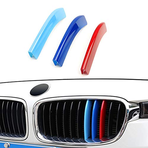 for 13-18 BMW 3 Series (11 Grilles) 3D M Styling 3 Colors Front Grille Trim Motorsport Stripes Grill Cover Performance Stickers 3Pcs ()