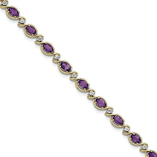 Or 14ct Diamant Améthyste Bracelet