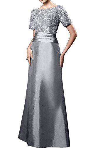 Charmant Silber Lang Kurzarm Abendkleider Spitze mit Gruen Brautmutterkleider Ballkleider Dunkel Formalkleider Damen rqxPpr
