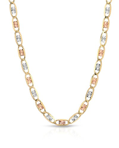 MCS Jewelry 14 Karat Three Tone Yellow Gold/White Gold/Rose Gold THIN Necklace 1.4 MM (14kt Gold Mariner Link Chain)
