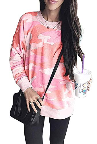 (BTFBM Women Camouflage Print Long Sleeve Crew Neck Loose Fit Casual Sweatshirt Pullover Tops Shirts (Red, Large))