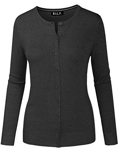 Roll Cardigan Neck - BH B.I.L.Y USA Women's Round Neck Button Down Soft Classic Knit Cardigan Charcoal Medium