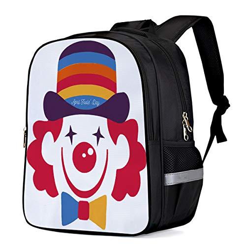 Kid School Backpack Classic Shoulder School Bags for Teenage Girls Boys,Cute Clown with Red Hair Cartoon Pattern Schoolbag Book Bag,16.1
