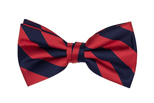 Jacob Alexander Stripe Woven Men's College Striped Pretied Bowtie - Red Navy ()