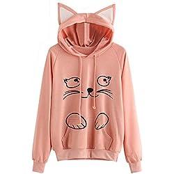 Womens Sweatershirt Cat Ear Long Sleeve Hoodie Pullover Fun Zip Up Tops (S Bust:92cm, Pink)