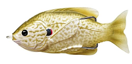 LIVE TARGET LiveTarget Sunfish Hollow Body Fishing Bait with Topwater Depth & #4/0 Hook, Pearl/Olive Pumpkinseed, 3 - Depth Body