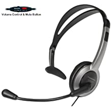 Panasonic Hands-Free Headset with Foldable Comfort Fit Lightweight Headband & Flexible Optimum Voice Microphone with Volume Control & Mute Switch For The Panasonic KX-FG2451 Plain Paper Fax-Copier with 2.4GHz FHSS GigaRange Cordless Phone Digital Answering System