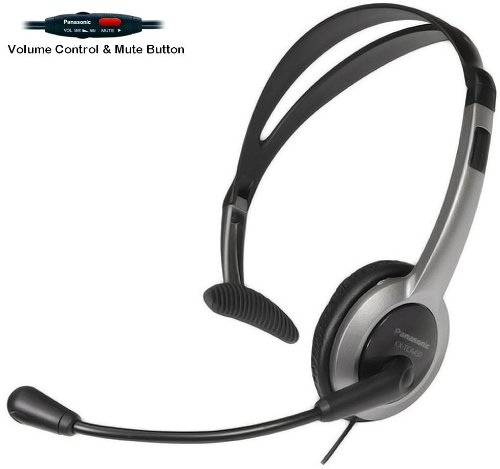 Foldable Headband Design - Panasonic Hands-Free Headset with Foldable Comfort Fit Lightweight Headband & Flexible Optimum Voice Microphone with Volume Control & Mute Switch For The Panasonic KX-TGA101S - KX-TGA101B - KX-TGA300S & KX-TGA300B Cordless Phone Accessory Handset