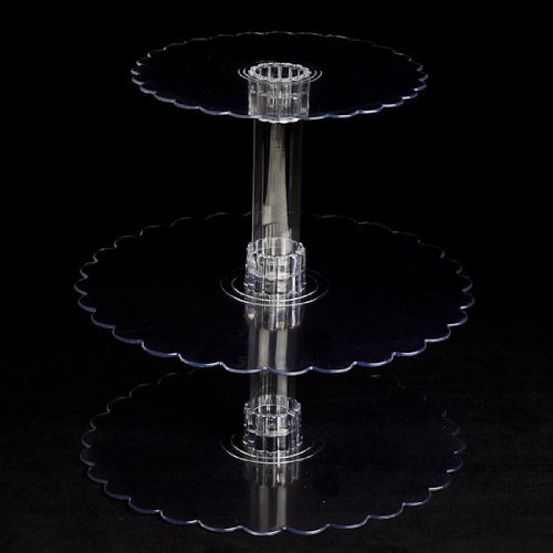 Three Tier Cupcake or Cake Stand with Scalloped Eges Made of Clear Hard Acrylic - Mix and Match Use As a 1 Tier, 2 Tier or 3 Tier - Center Tubes Are Hollow and Can Be Filled If Desired - Holds Approx 40-45 Cupcakes