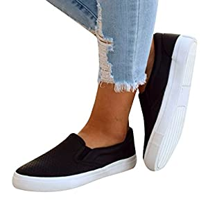 Pxmoda Womens Fashion Pinhole Cushioned Sneakers Casual Slip-on Loafers Flat Shoes