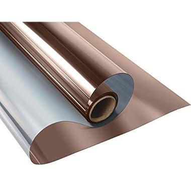 KESPEN One Way Window Film Privacy Reflective Glass Tint for Home Static Cling Anti-UV Heat Control Vinyl, Tea-Silver, 35.4 Inch X 6.5 Feet