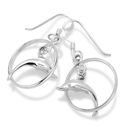 Jumping Dolphin Dangle - 925 Sterling Silver Dolphin Porpoise Hoop Jumping Dangle Hook Earrings