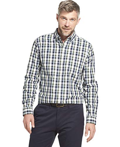 Arrow 1851 Men's Hamilton Poplins Long Sleeve Button Down Plaid Shirt, Navy Blazer, XX-Large