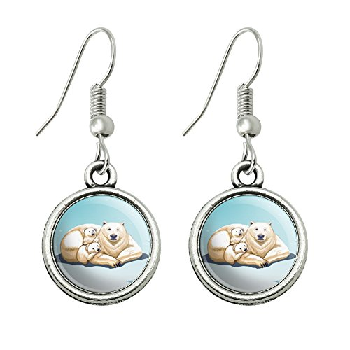 GRAPHICS & MORE Polar Bear Mom with Cubs Family Novelty Dangling Drop Charm Earrings