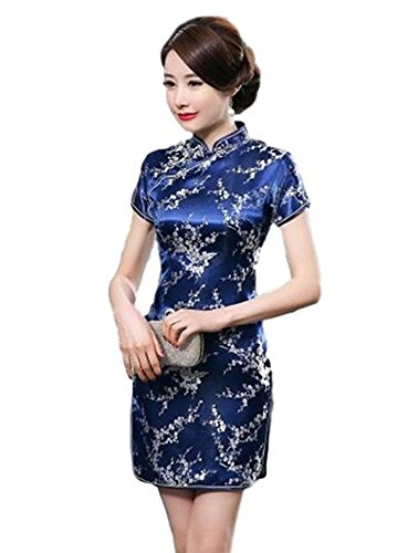 Maritchi Women's Sexy Floral Mini Chinese Evening Dress Cheongsam China Wedding Clothes (6(ChineseL), Navy)