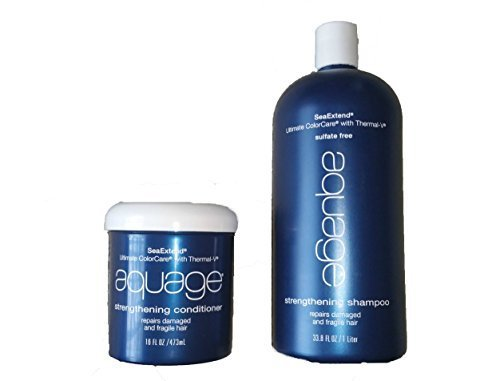 Aquage Seaextend Strengthening - Aquage Seaextend Ultimate Colorcare with Thermal-v Strengthening Conditioner, 16 Ounce and Shampoo 33.8oz…