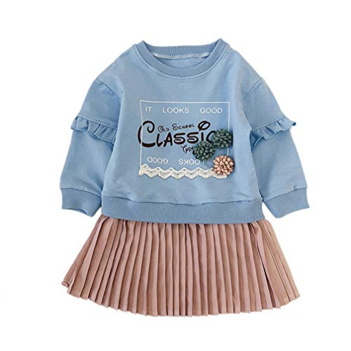 Baby Girls Autumn Princess Dress,Cute Toddler Kids Letter Long Sleeve Loose Sweatshirt Blouse Pleated Skirt One-Piece Outfit Set ()
