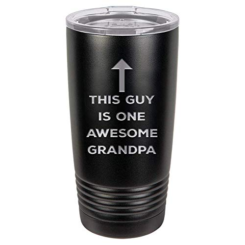 Fathers Day Gift from Grandchildren | One Awesome Grandpa | 20 oz Black Stainless Steel Tumbler w/Lid Mug Cup for Papa | Grandfather presents for Birthday | Grandpa Gifts from - Mug Grandkids