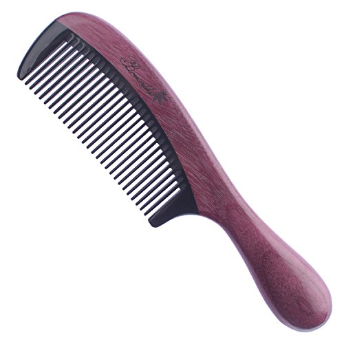 (Breezelike Purpleheart Wood Hair Comb - No Static Wooden Comb with Black Buffalo Horn Teeth)
