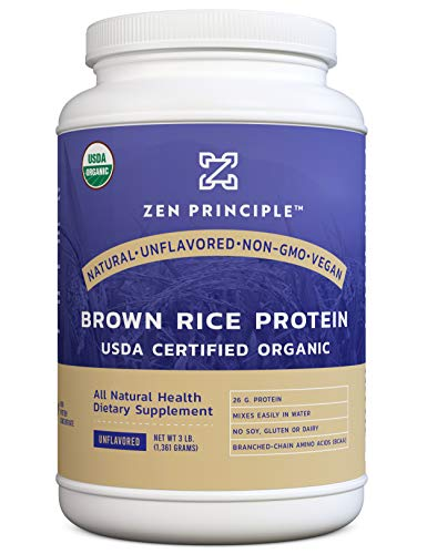 Organic Brown Rice Protein 3 LB. USDA Certified Organic. Unflavored. 26 G. Protein Per Serving. Non-GMO. No Soy